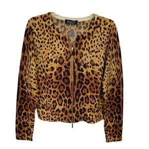 Magaschoni New York 100% Cashmere Leopard Print Zip Up Cardigan Sweater Medium